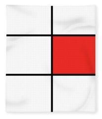 Mondrian Style Minimalist Pattern In Red 02 Fleece Blanket