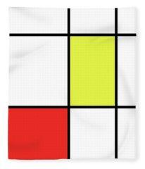 Mondrian Style Minimalist Pattern In Red And Yellow Fleece Blanket