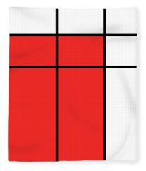 Mondrian Style Minimalist Pattern In Red Fleece Blanket