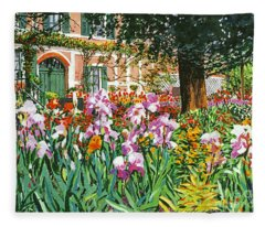 Monet's Irises Fleece Blanket