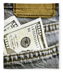 Money Jeans Fleece Blanket