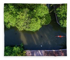Fleece Blanket featuring the photograph Monk Rowing Boat Along Floating Market Aerial View by Pradeep Raja PRINTS