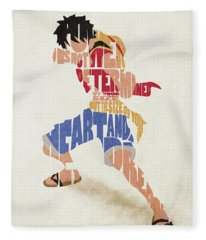 Monkey D. Luffy Typography Art Fleece Blanket