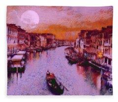 Monkey Painted Italy Again Fleece Blanket