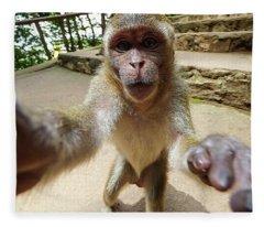 Monkey Taking A Selfie Fleece Blanket
