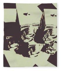 Monochromatic Antique Cameras And Photos Fleece Blanket