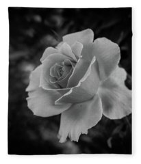 Monochrome Rose Macro Fleece Blanket