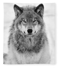 Monotone Timber Wolf  Fleece Blanket