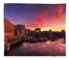 Monroe Bridge Sunset View Fleece Blanket