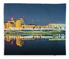 Monroe Louisiana City Skyline At Night Fleece Blanket