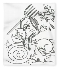 Monster Getting Chased Fleece Blanket