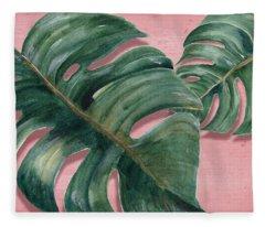 Monstera Leaf  Fleece Blanket