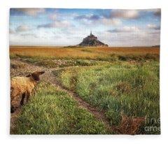 Mont Saint Michel's Sheep Fleece Blanket