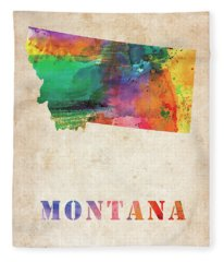 Montana Colorful Watercolor Map Fleece Blanket