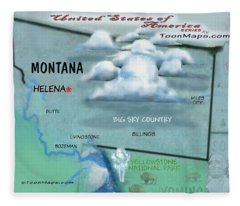 Montana Fun Map Fleece Blanket