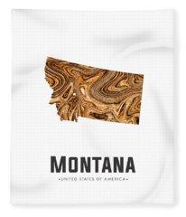 Montana Map Art Abstract In Brown Fleece Blanket