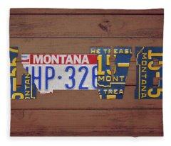 Montana State Love Heart License Plates Art Phrase Fleece Blanket