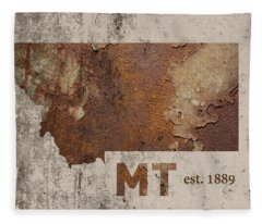 Montana State Map Industrial Rusted Metal On Cement Wall With Founding Date Series 041 Fleece Blanket
