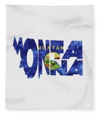 Montana Typographic Map Flag Fleece Blanket