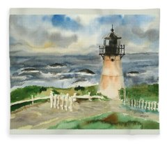 Montara Lighthouse, Plein Air Fleece Blanket