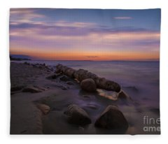 Montauk Sunset Boulders Fleece Blanket