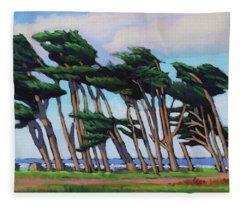 Monterey Cypress Row  Fleece Blanket