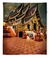 Monthian Temple Chiang Mai  Fleece Blanket
