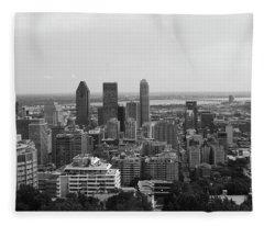 Montreal Cityscape Bw Fleece Blanket