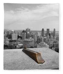 Montreal Cityscape Bw With Color Fleece Blanket