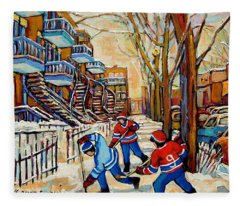 Montreal Hockey Game With 3 Boys Fleece Blanket