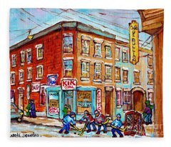 Montreal Storefront Paintings Debullion Street Hockey Art Quebec Winterscenes C Spandau Canadian Art Fleece Blanket