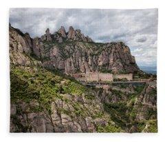 Montserrat Mountains And Monastery In Spain Fleece Blanket