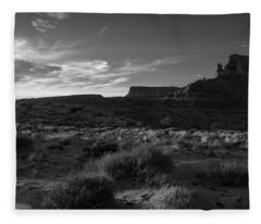 Monument Valley View - Black And White Fleece Blanket