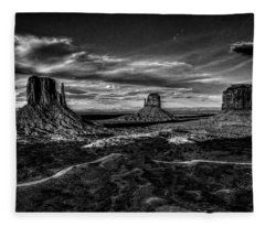 Monument Valley Views Bw Fleece Blanket