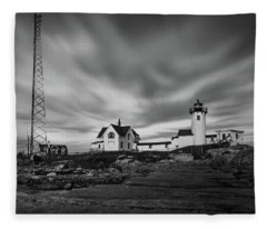 Moody Sky At Eastern Point Lighthouse Fleece Blanket