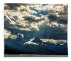 Moody Sunrays Over Glacier National Park Fleece Blanket