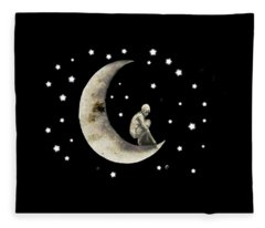 Moon And Stars T Shirt Design Fleece Blanket