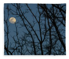 Moon At Dusk Through Trees - Impressionism Fleece Blanket