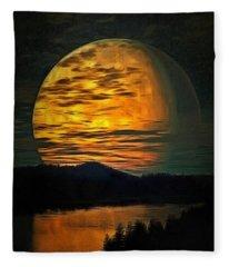 Moon In Ambiance Fleece Blanket