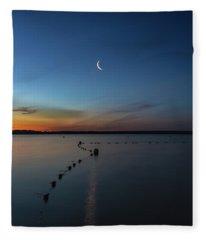 Moon Over Cayuga Fleece Blanket