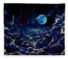 Moon Over Dark Clouds In Watercolor Fleece Blanket