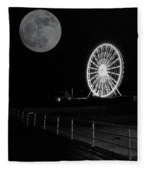 Moon Over Ferris Wheel Fleece Blanket