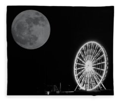 Moon Over Ferris Wheel Fleece Blanket