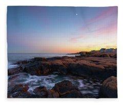 Moon Over Gloucester Sunset Fleece Blanket