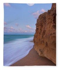 Moon Over Hutchinson Island Beach Fleece Blanket