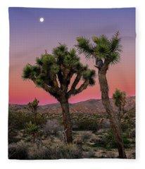 Moon Over Joshua Tree Fleece Blanket