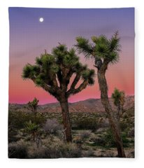 Moon Over Joshua Tree Fleece Blanket