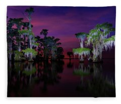 Moon Over Maurepas Swamp Fleece Blanket
