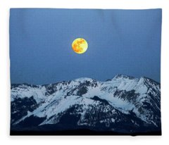 Moon Over Mt Gunnison Colorado Fleece Blanket