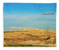 Moon Over The Badlands Fleece Blanket